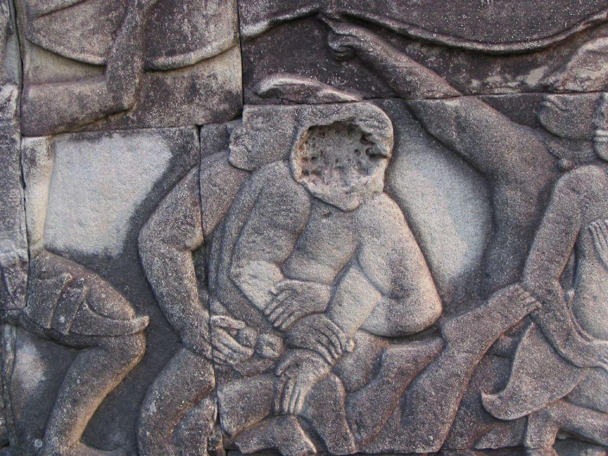 Ancient Muay Boran Stone Carving
