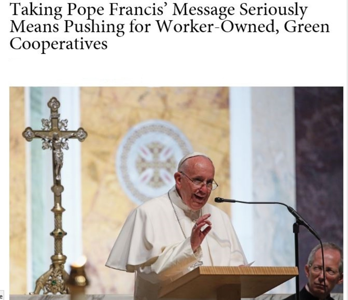 Pope says that constantly expanding business is not good for people or the planet