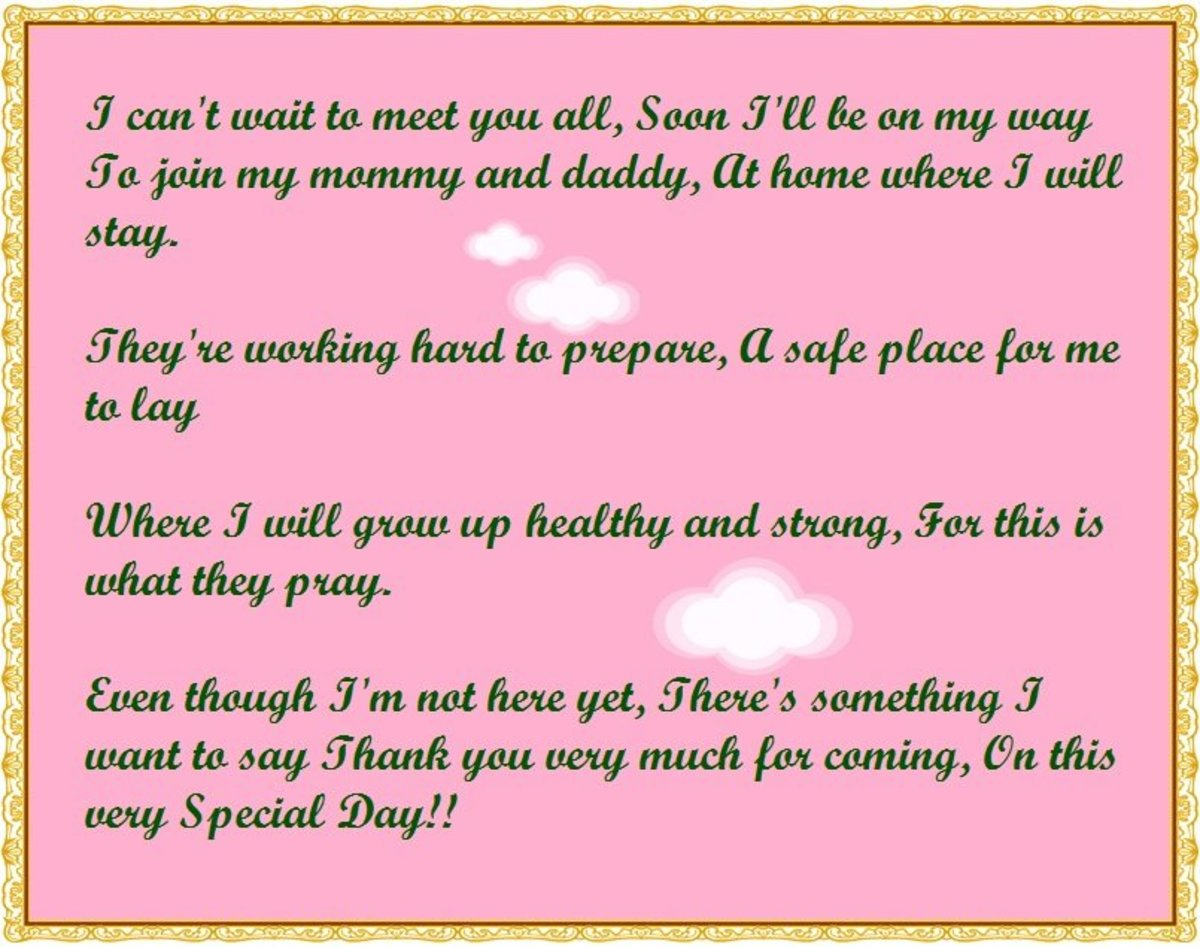 Baby Shower Thank You Poems From Unborn Baby Hubpages