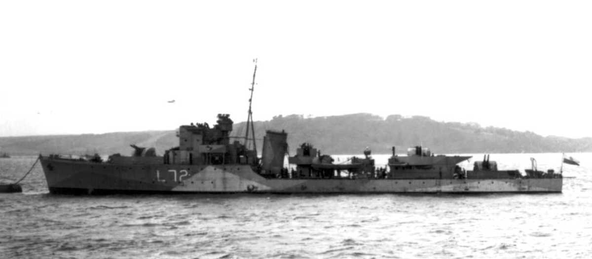 Royal Navy Hunt class escort destroyer HMS 'Brocklesby' covered the withdrawal from Green Beach