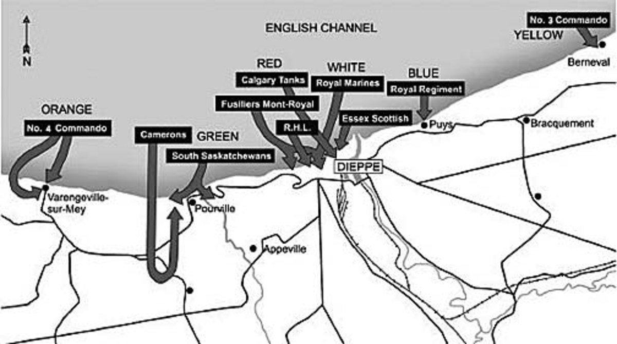 The Dieppe raid and the beach assignments, 19th August, 1942 - Pourville is just to the left of Dieppe
