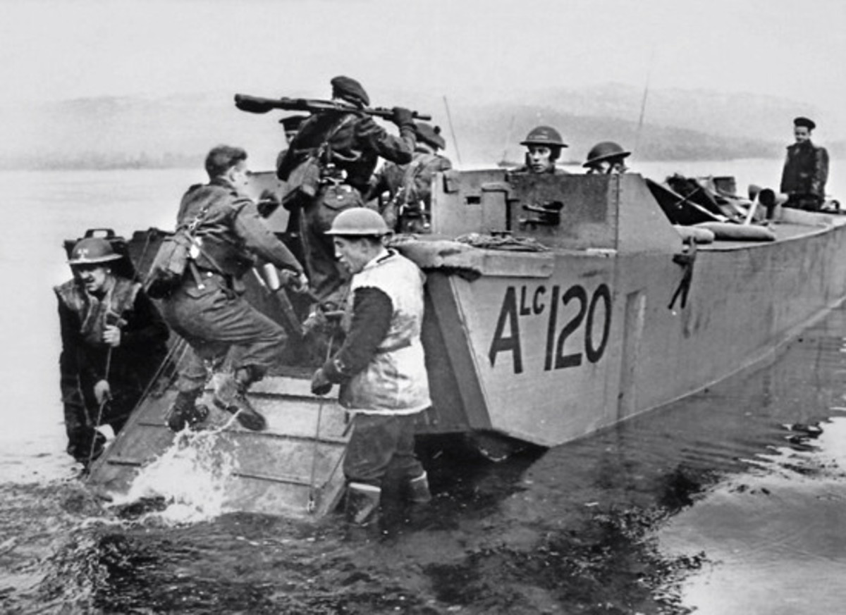 A landing craft involved in the Bruneval raid along the coast in January, 1942