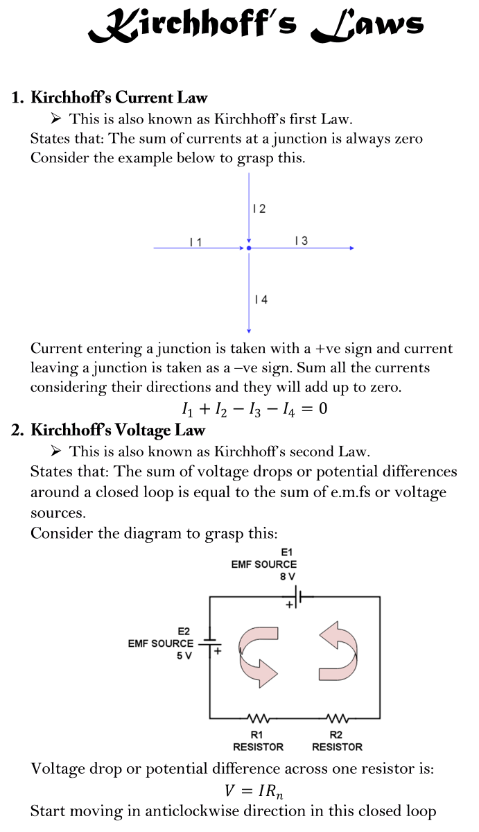 AS Level Physics Formula Sheet - Kirchhoff's Laws