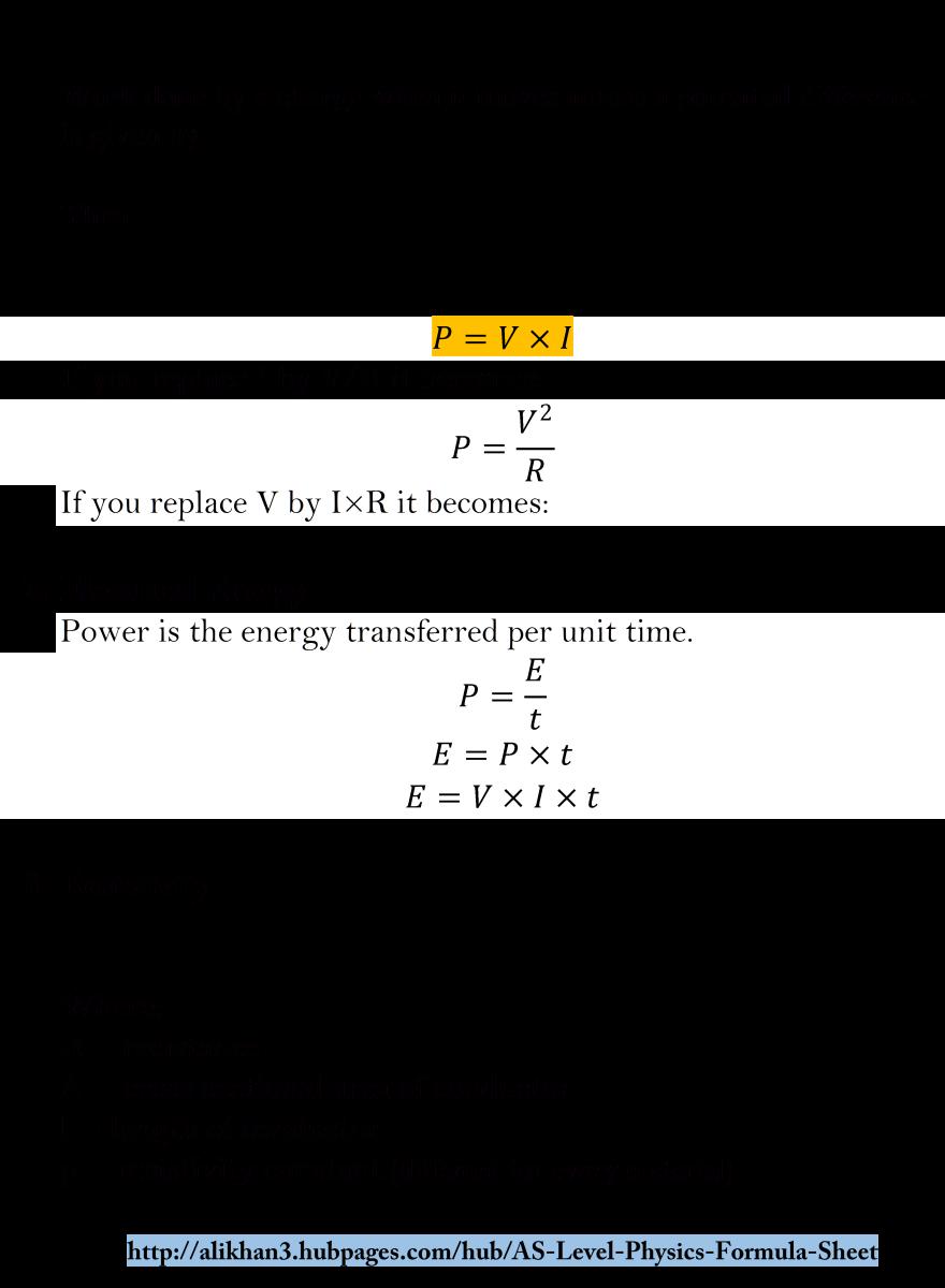 AS Level Physics Formula Sheet   HubPages