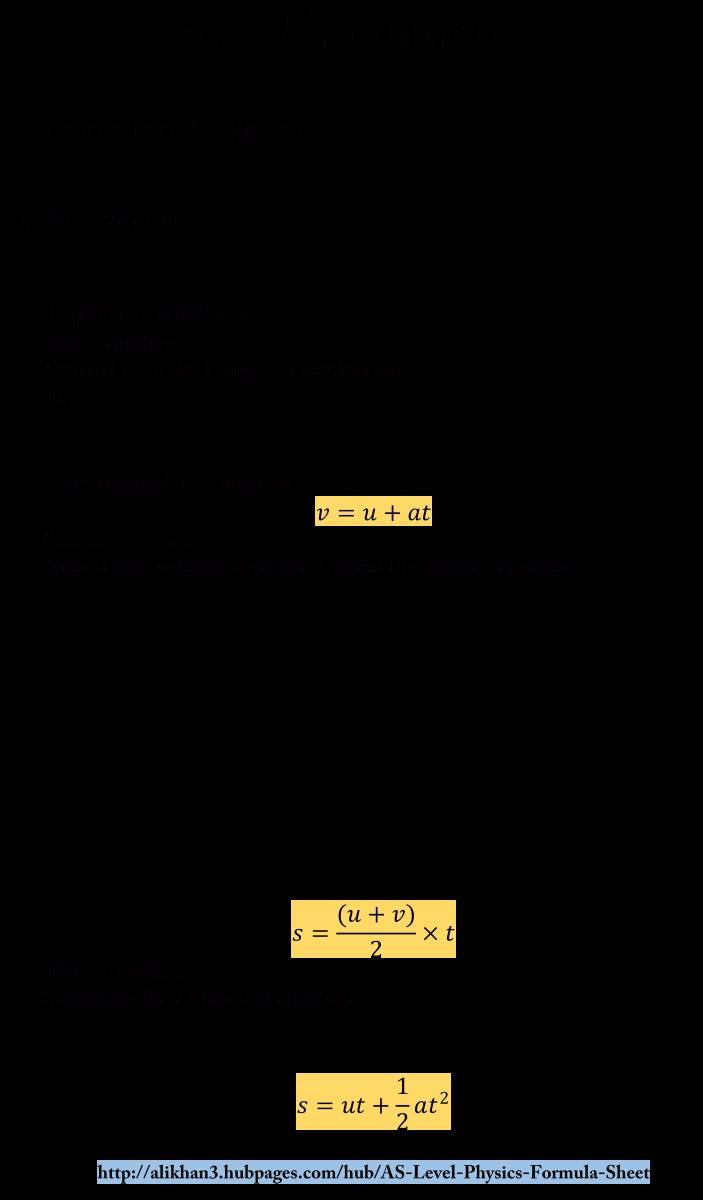 AS Level Physics Formula Sheet - Kinematics