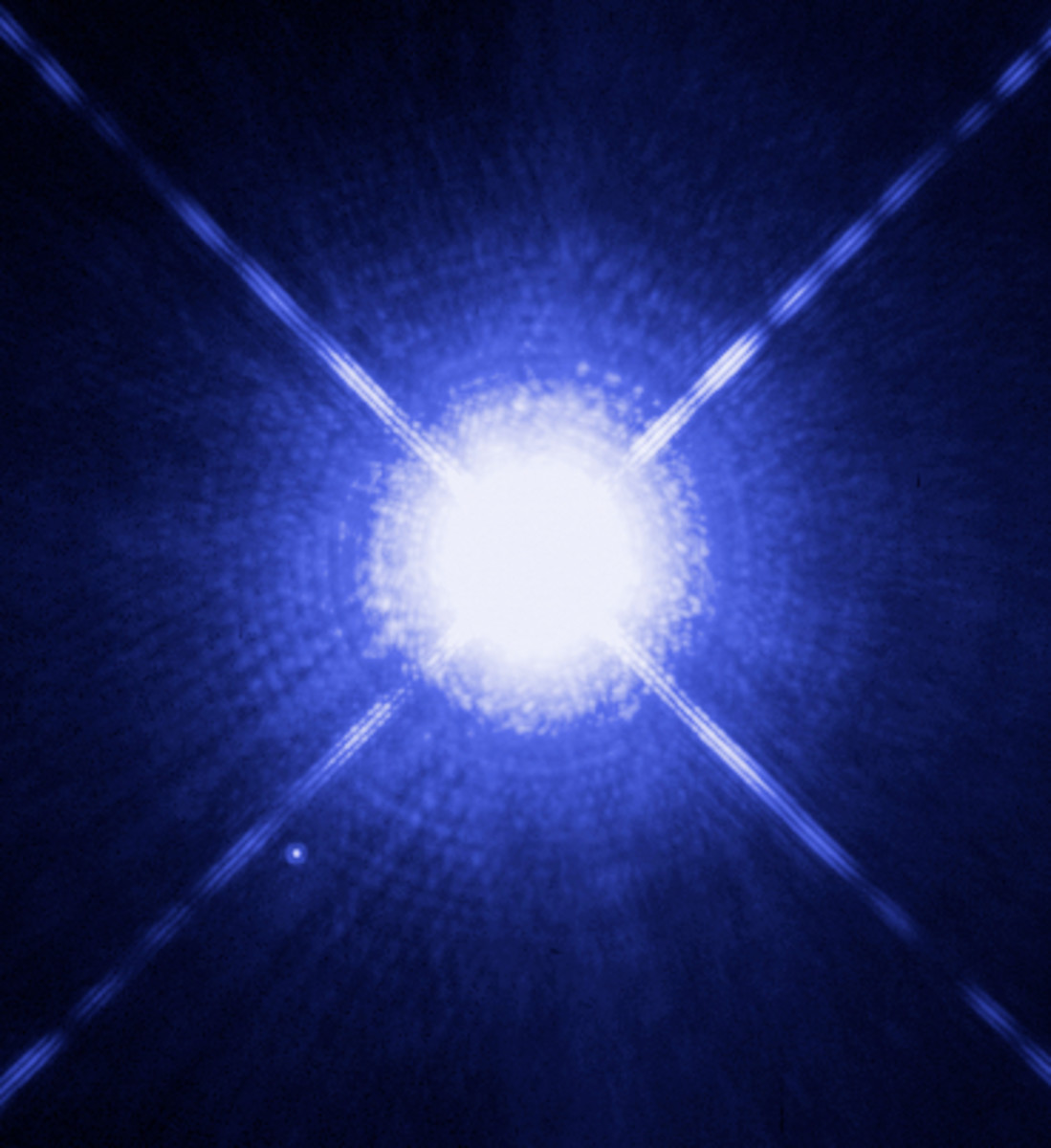Sirius A is in the Canis Major constellation and is called The Great Dog. Sirius B, the white dwarf is referred to as The Pup, which shows as a tiny white dot, lower left.