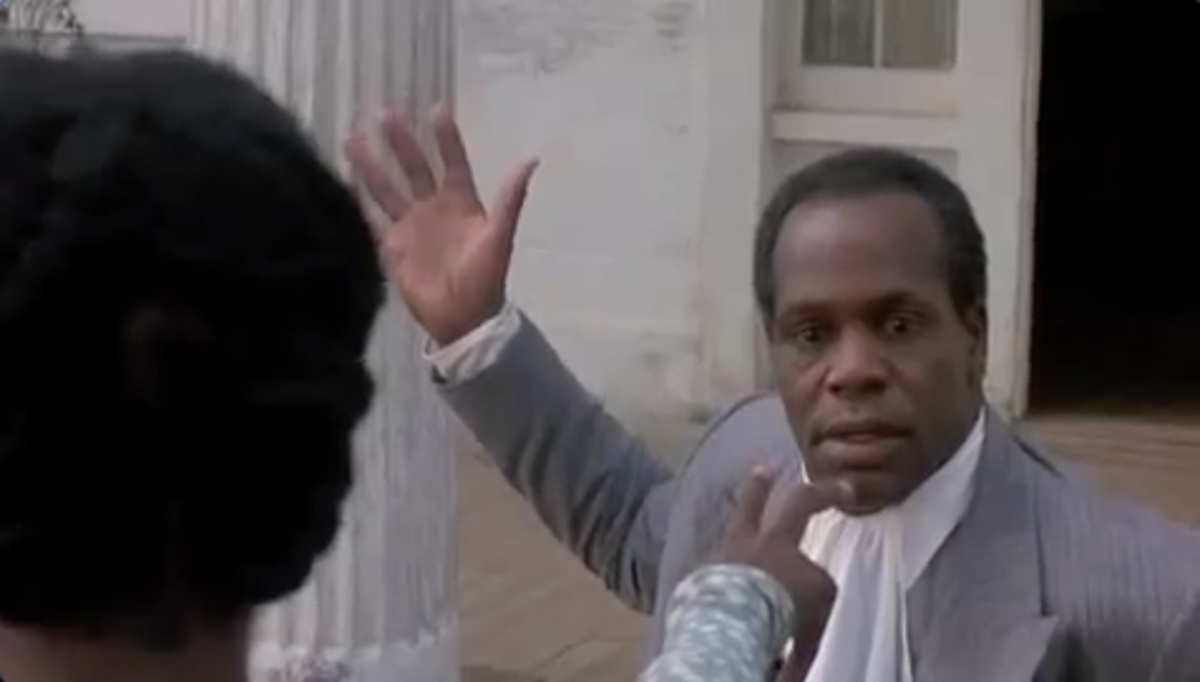 "In the movie, The Color Purple, ""Mister,"" who is threatening to hit Celie, hesitates in a frightful stupor as she mystically points her fingers at him and utters a sober warning."