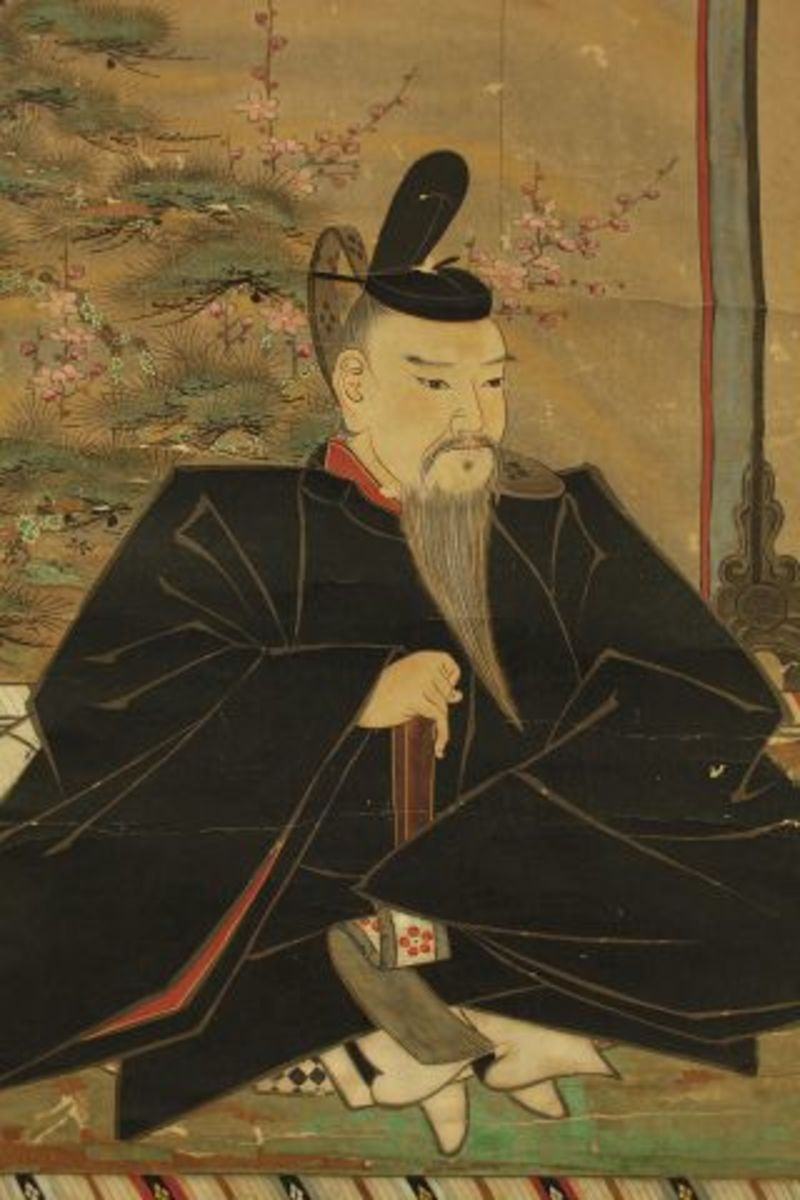 Sugawara no Michinaze portrayed on Japanese hanging scroll.