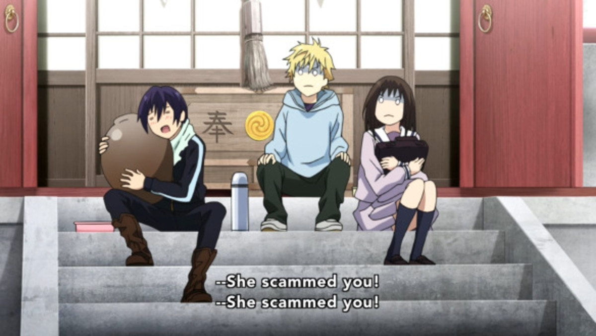 A scene from Noragami Season 1, Episode 4 where Yato is scammed by a woman.
