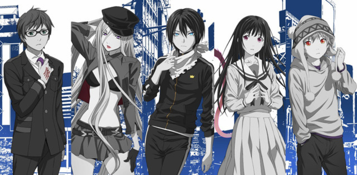 From left to right: Kazuma, Bishamonten, Yato, Hiyori and Yukine.