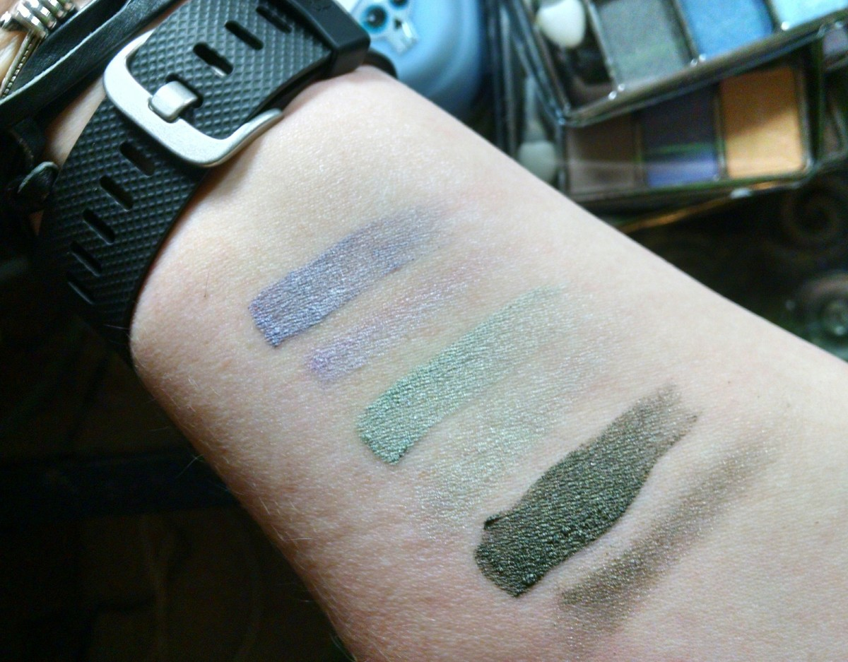 Almay Intense i-Color Trio for Greens 204 - normal swatches (the ones that are hard to see) next to their foiled counterparts