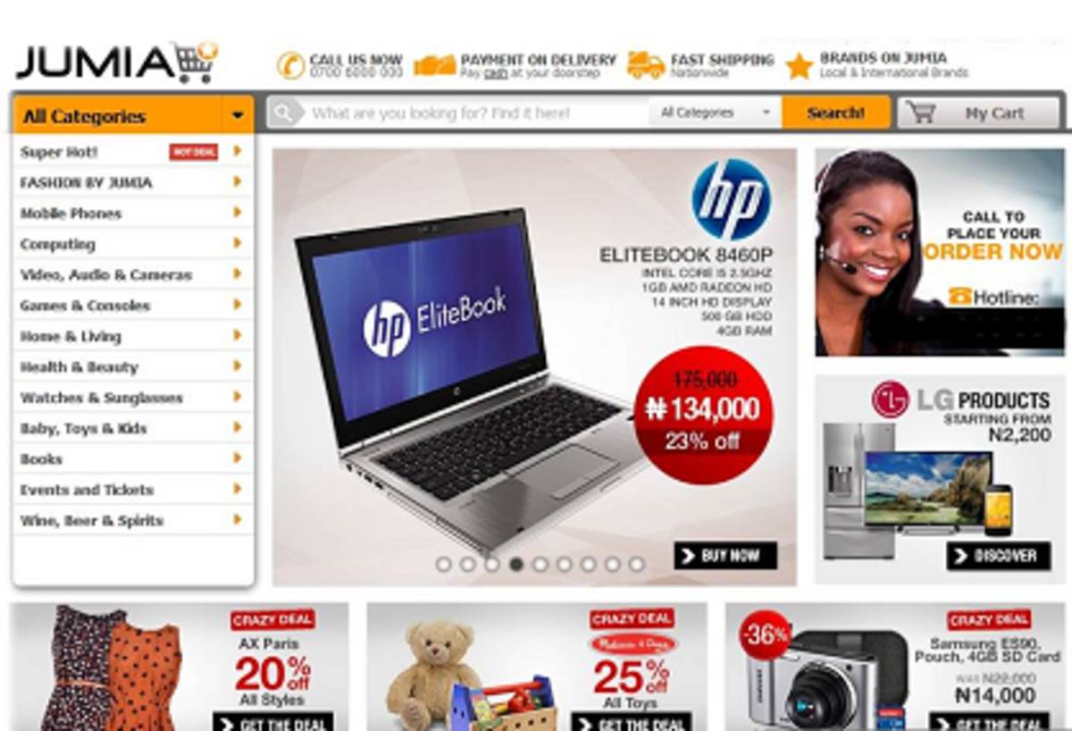 Some Products on Jumia Homepage