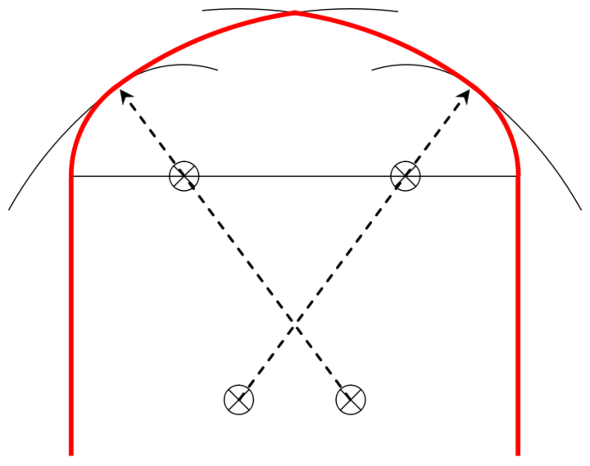 Construction of a four-centred arch