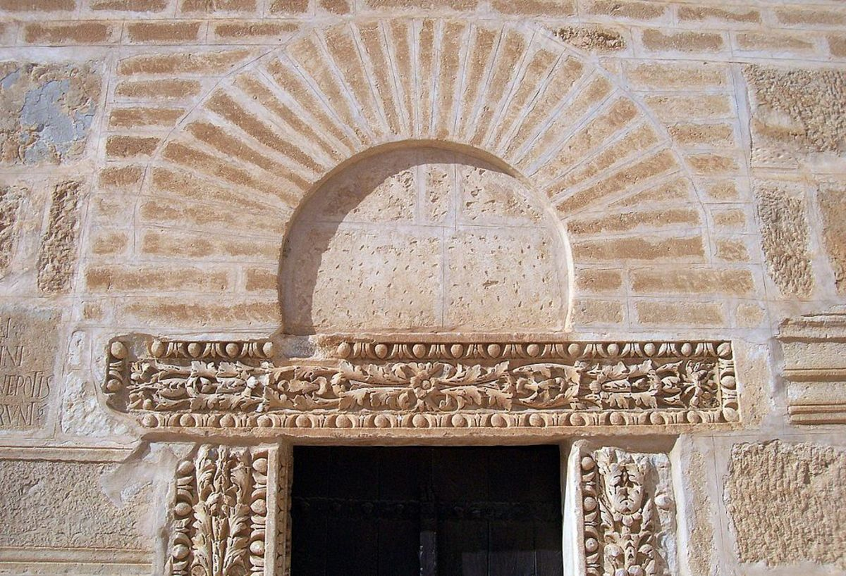Discharging arch of the door of the minaret in the Great Mosque of Kairouan, also called the Mosque of Uqba, in Tunisia.