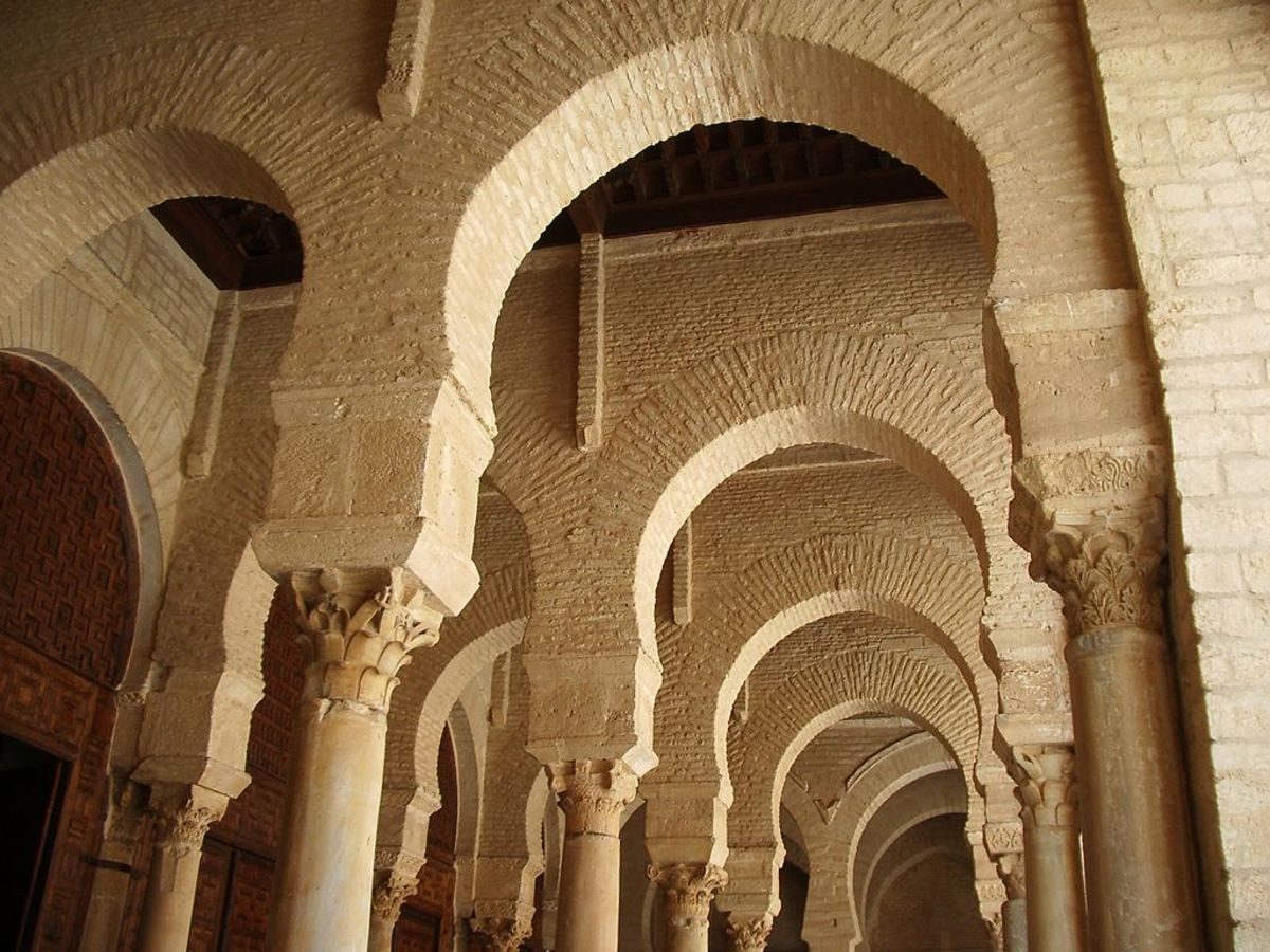 Horseshoe arches inside the Mosque of Uqba, in Kairouan, Tunisia