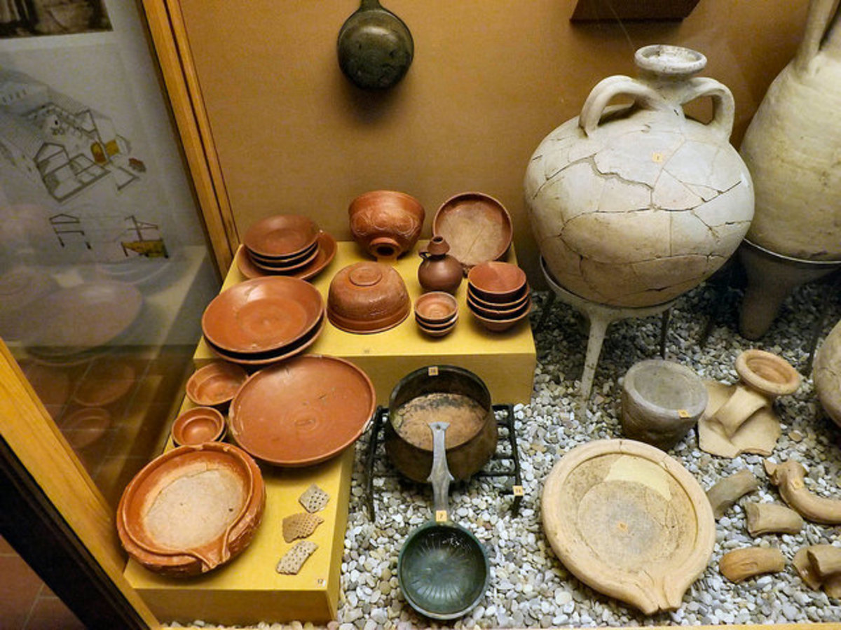Roman pottery, including an olive oil amphora
