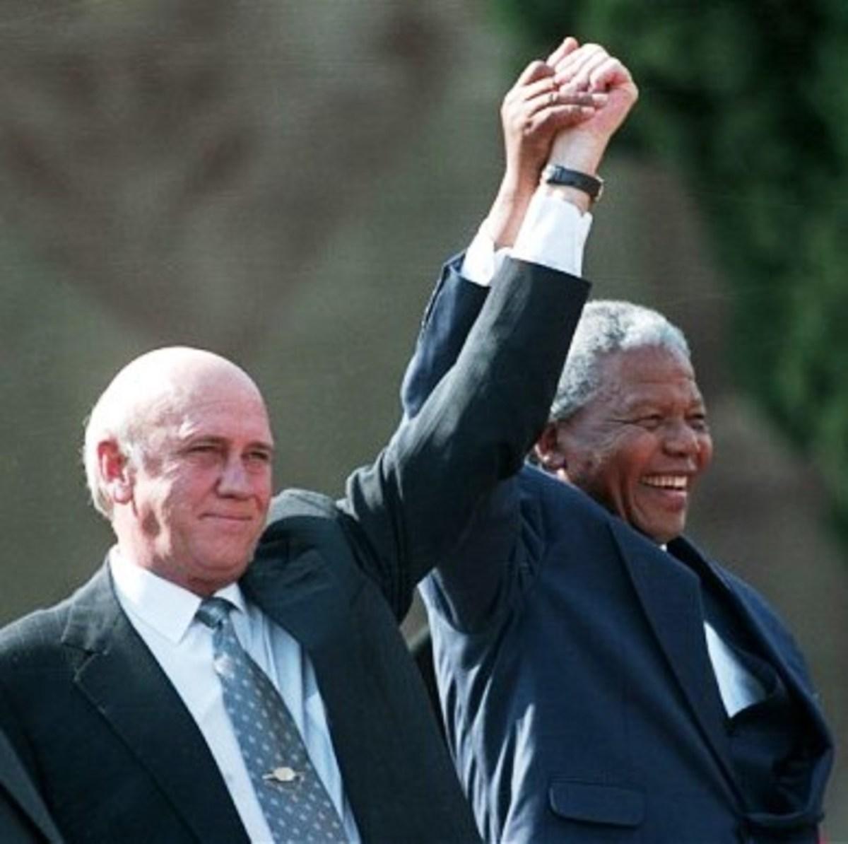 FW de Klerk and Nelson Mandela won the 1993 Nobel Peace Prize.