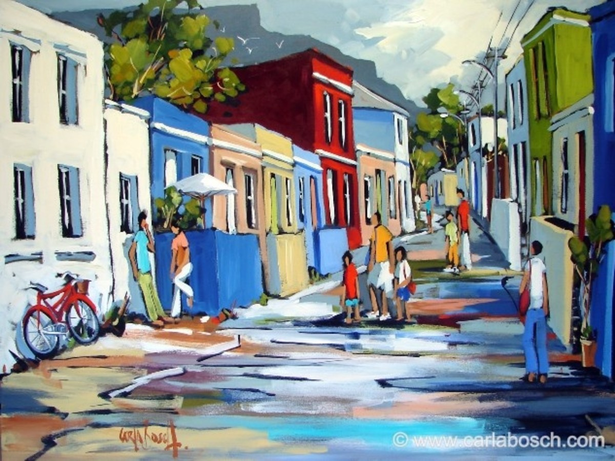 Painting of restored houses of slaves in Cape Town