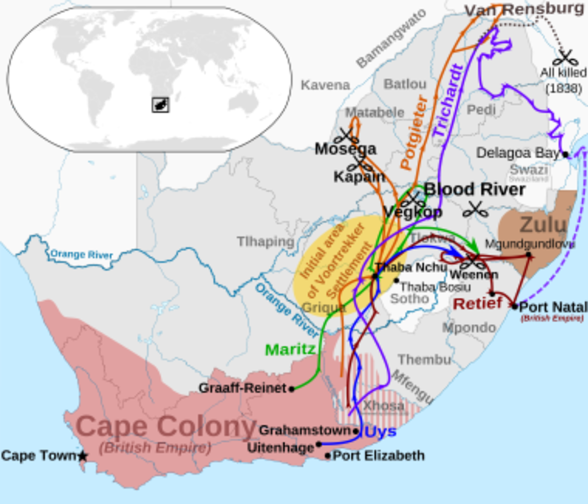 The various routes of the Great Trek, South Africa