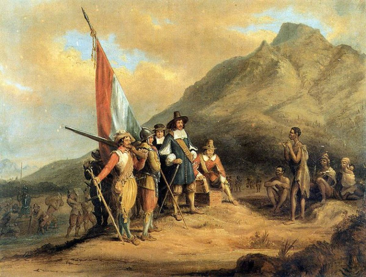 Arrival of Jan van Riebeeck in Cape Town painted by Charles Davidson Bell