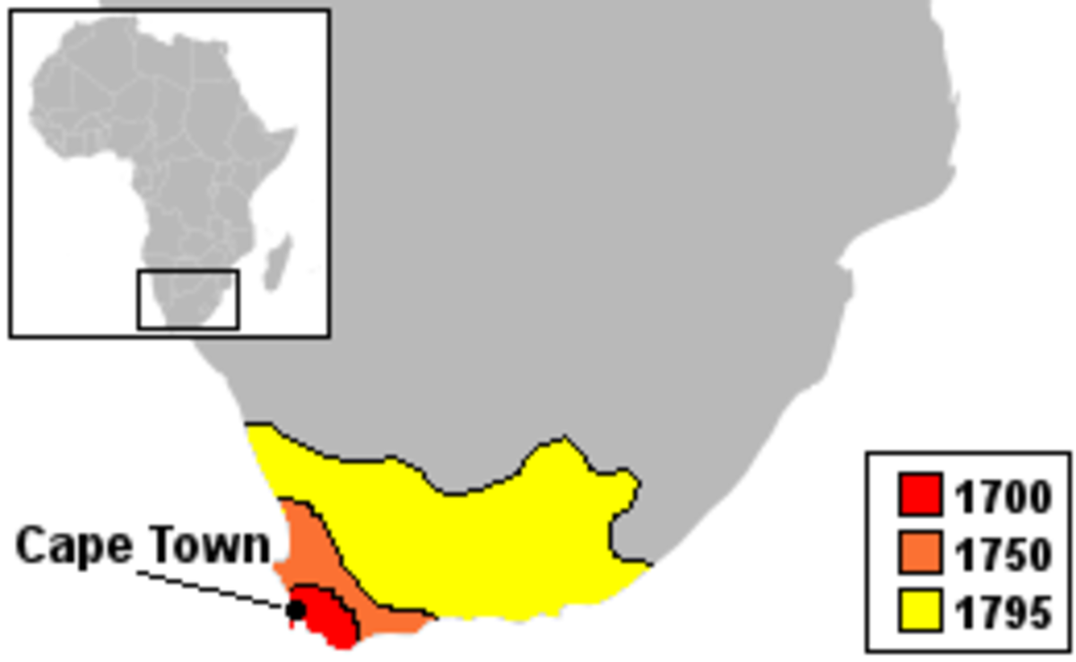 Expanding borders of the Cape of Good Hope 1652 to 1795