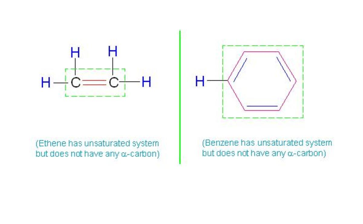 Though both of these species have unsaturated system, they lack in alpha carbon.