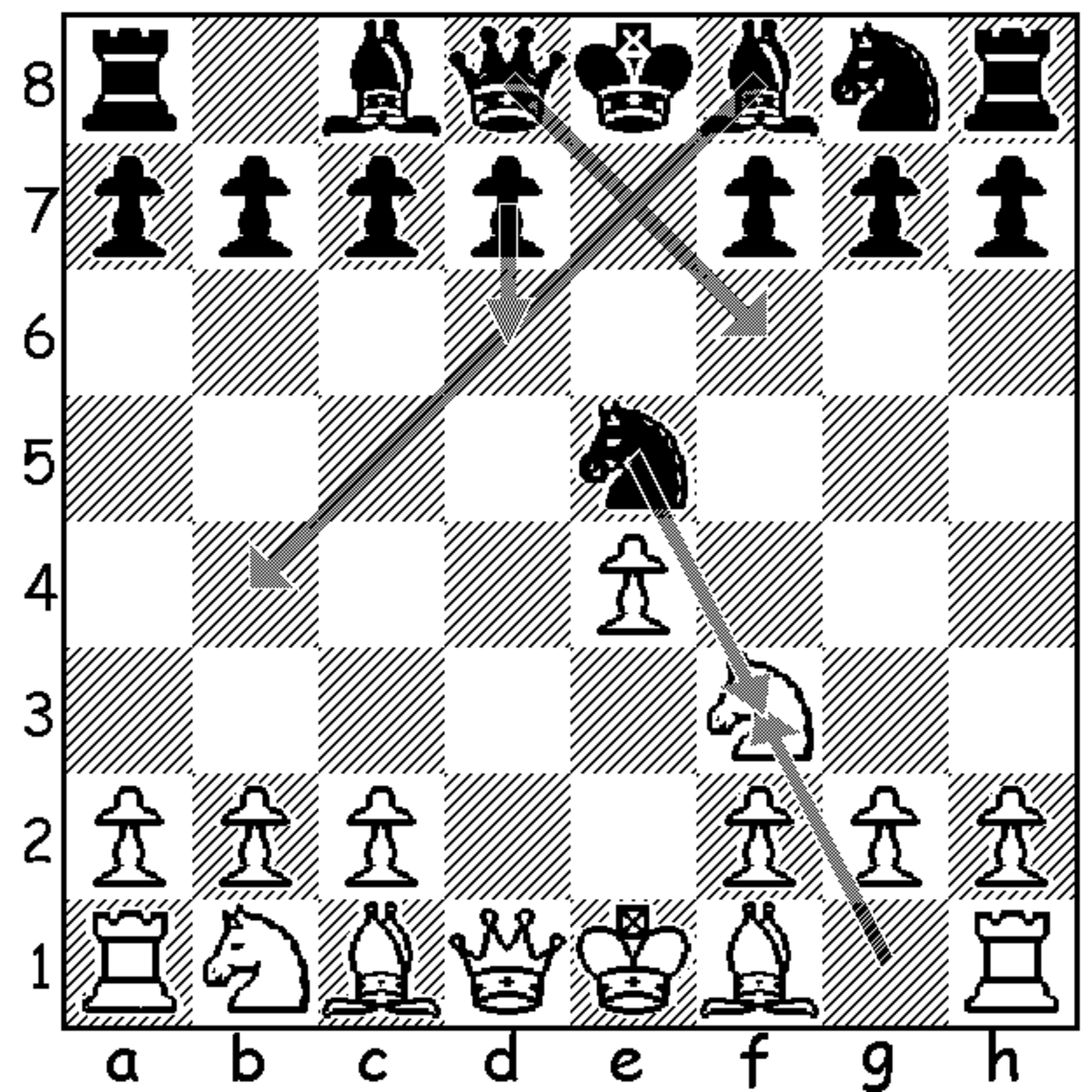 This diagram shows black's four most common fourth move responses to white's 4.Nf4. In order of popularity, they are, 4...Nxf3, 4...Bb4+, 4...Qf3, and 4...d6.