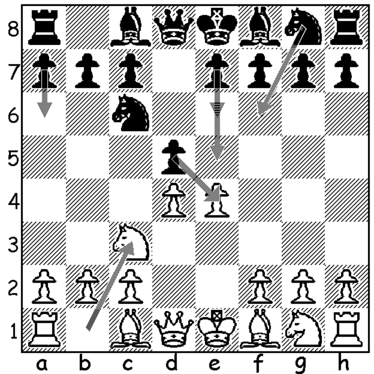 This diagram shows black's five third move options following 3.Nc3. In order of popularity, they are, 3...dxe4, 3...Nf6, 3...e6, 3...e5, and 3...a6.