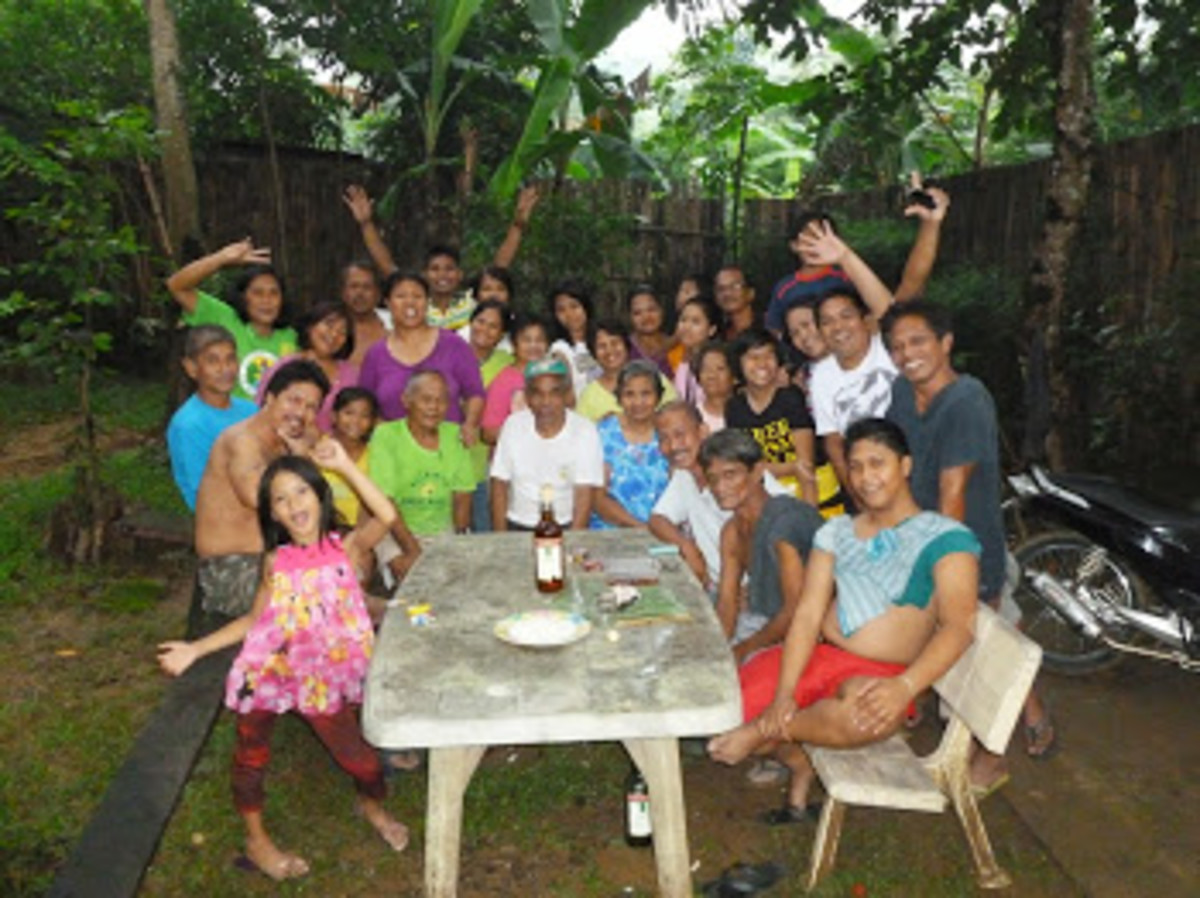 My wonderful filipino family and friends having a party.
