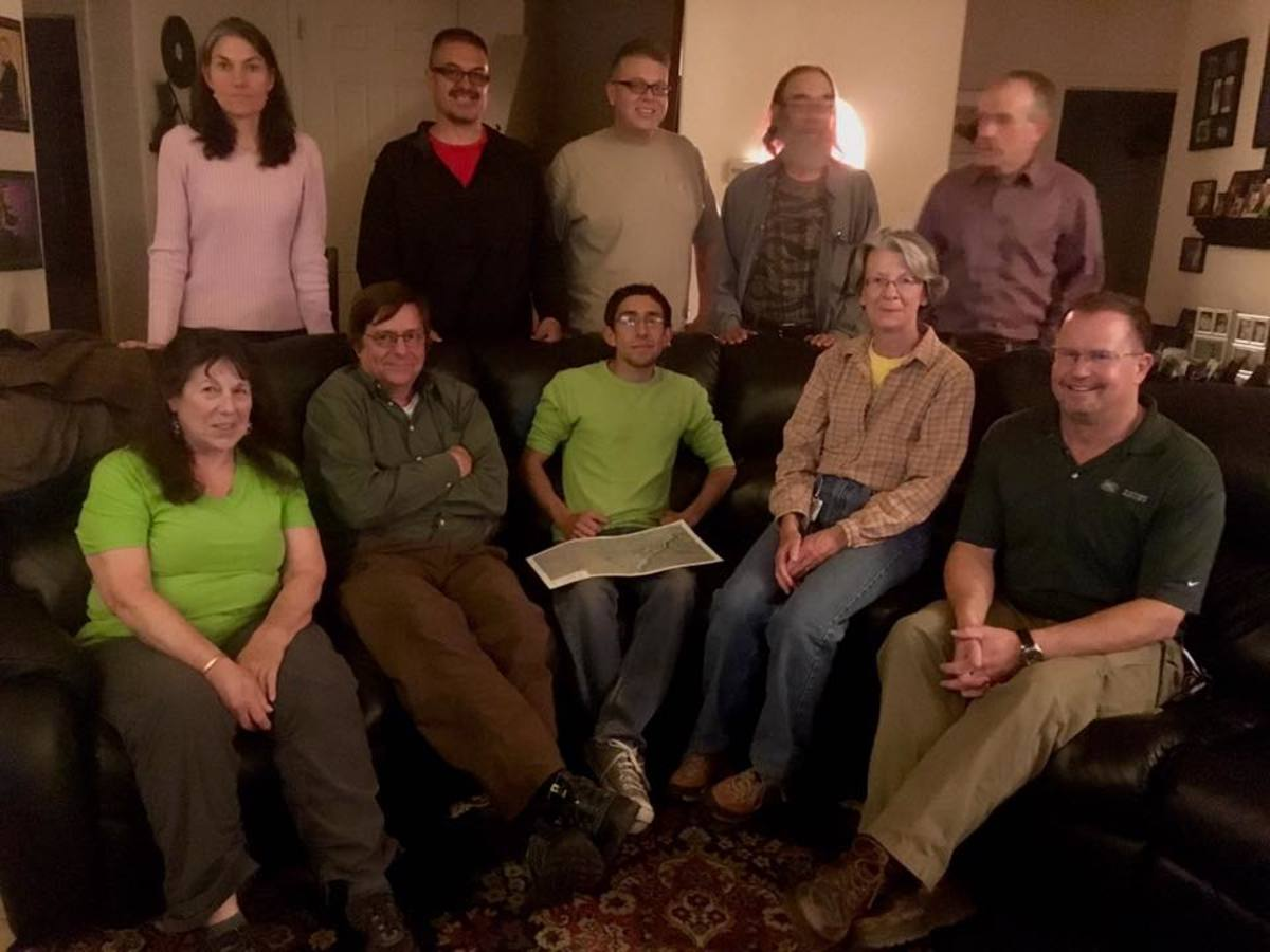 These are the team members who were able to be present and accounted for this past week's meet-up. Julie, Charles, Rich, Bob, Peter, Judy, John, Ryan, Liz and Dave the Drone Guy!