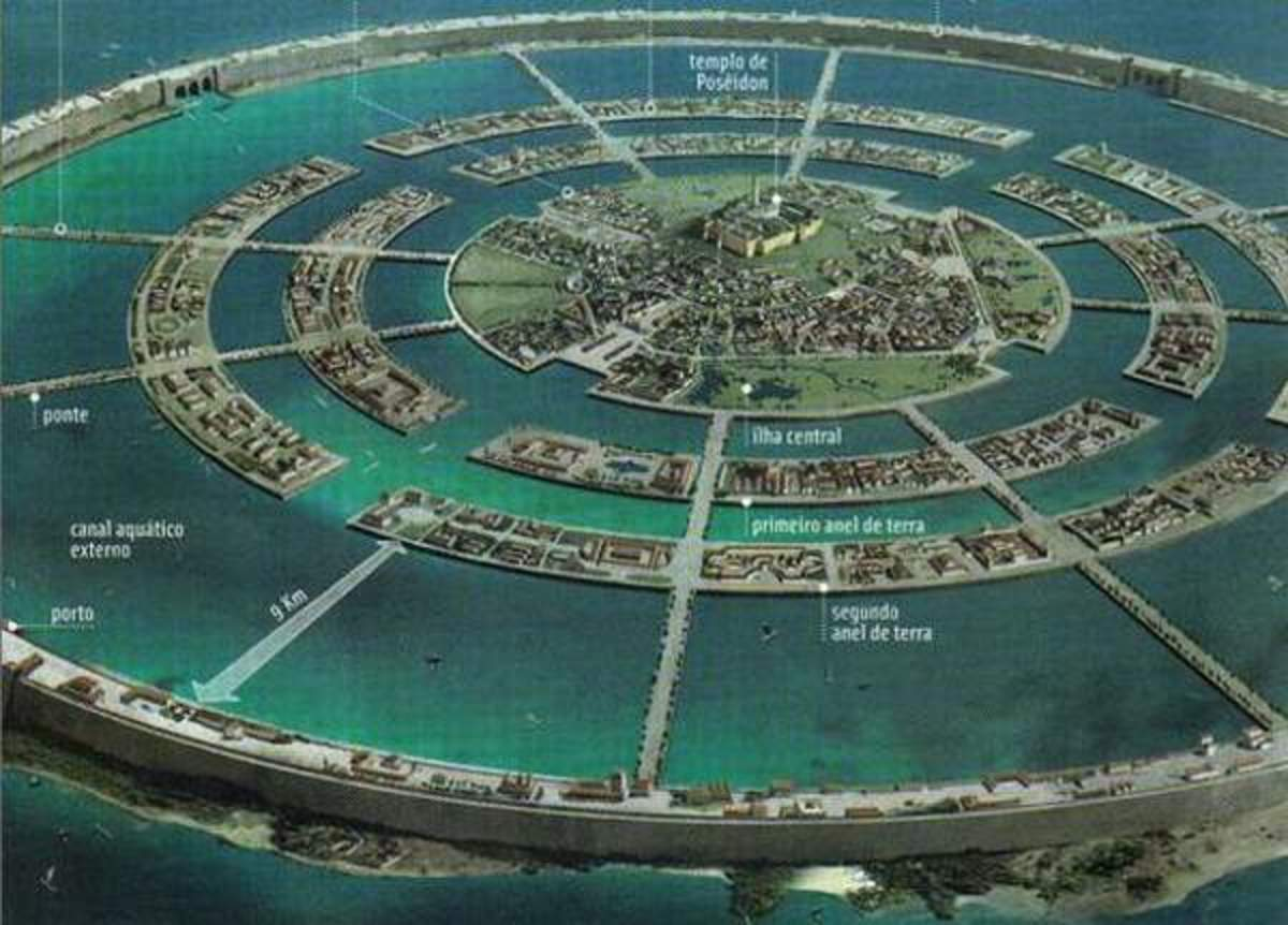 This artist conception of Atlantis shows the most commonly accepted description of its structure.