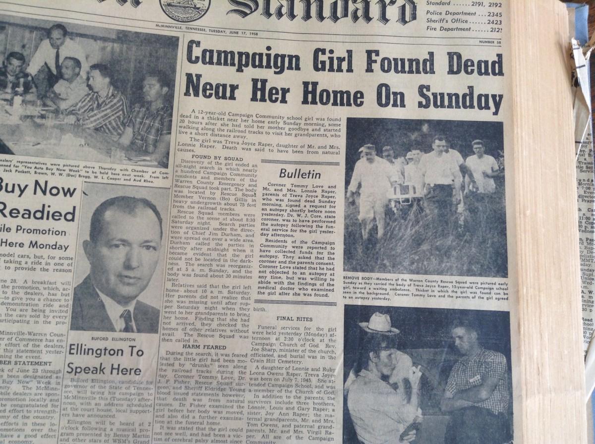 1958 Murder of 12 Year Old Treva Joyce Raper by her cousin Thomas