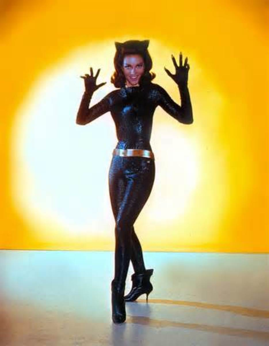 Lee Meriwether played Catwoman in the movie made in 1966 when Julie Newmar was not available to play the role.  Lee's costume is sparkly!