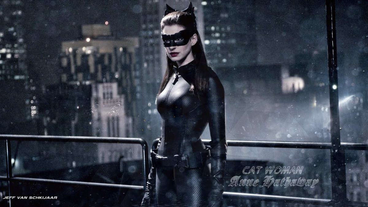 "Anne Hathaway in her Catwoman Costume for ""The Dark Knight Rises"" movie released in 2012.  It's back to the basics with her costume look, history is repeating itself with this style."