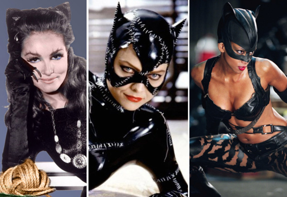 Am I seeing triple?  No, it's really 3 Catwoman together - Julie Newmar, Michelle Pfeiffer, and Halle Berry - If you want to wear a Catwoman costume for Halloween, you are in really great company!