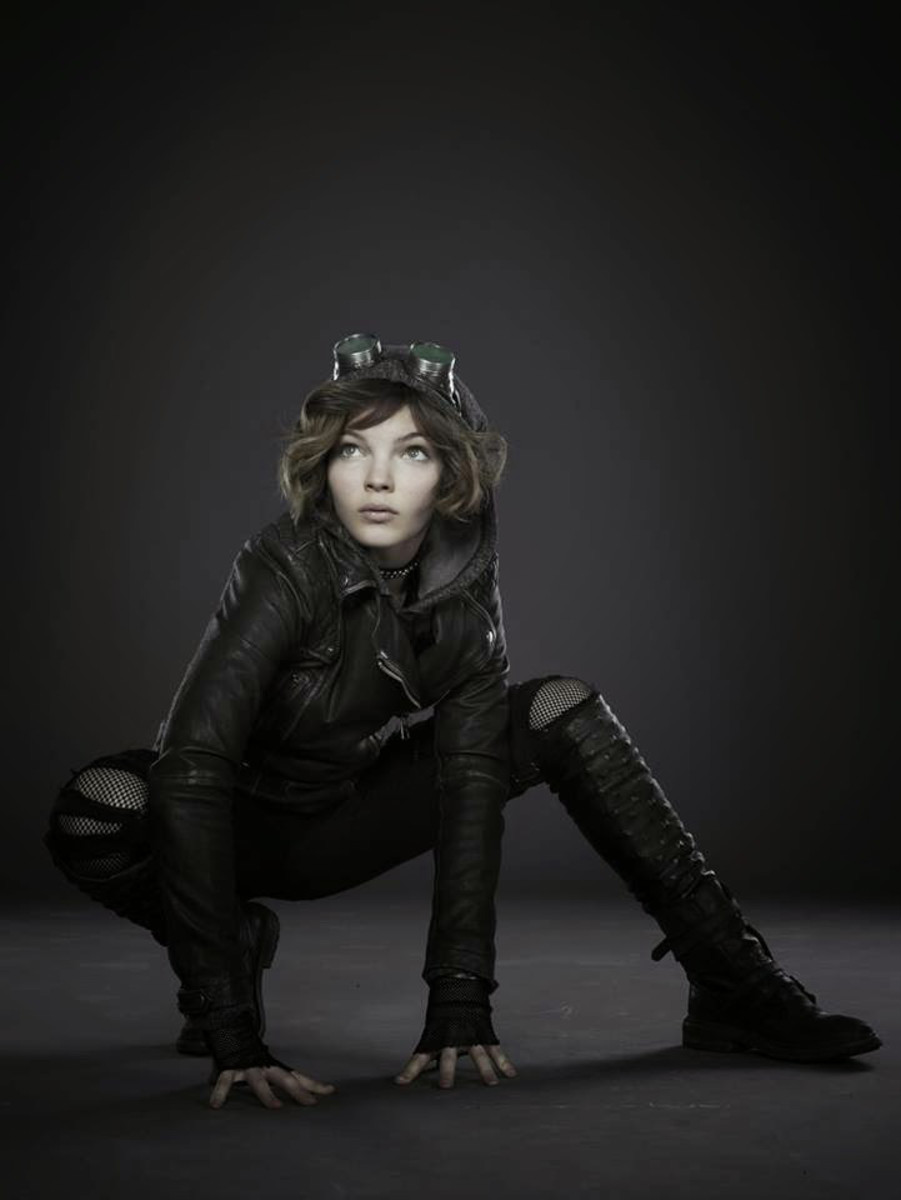 "Camren Bicondova in her Catwoman Costume, she doesn't have cat ears and she is in a leather jacket.  This is the character from the TV series ""Gotham"""