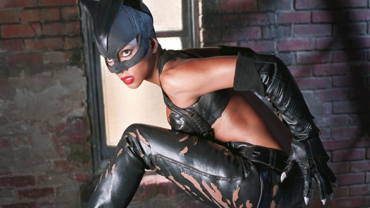 Halle Berry is the Cat's Meow in her Catwoman costume from the 2004 movie named after the feline antihero character.   This Catwoman costume has a much smaller top and is more damaged than the other ones we have seen.