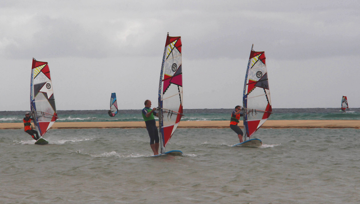 Windsurfers out in force on the Playa de Sotavento de Jandia