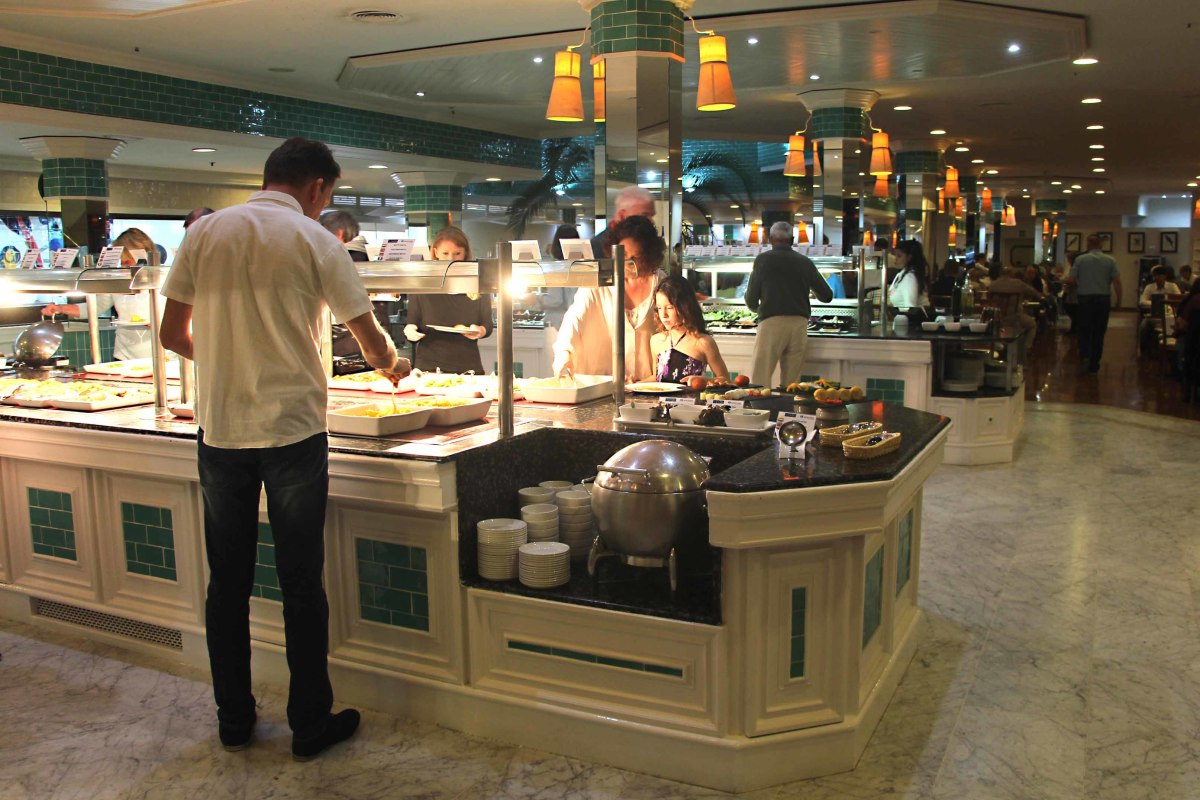 The buffet style restaurant serving counter, typical of tourist hotels in the Canary Islands