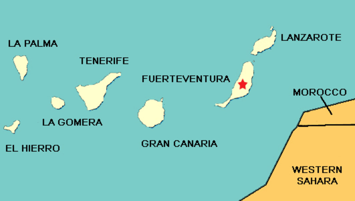 Fuerteventura - its location in the Canary Island Archipelago and in the Atlantic Ocean
