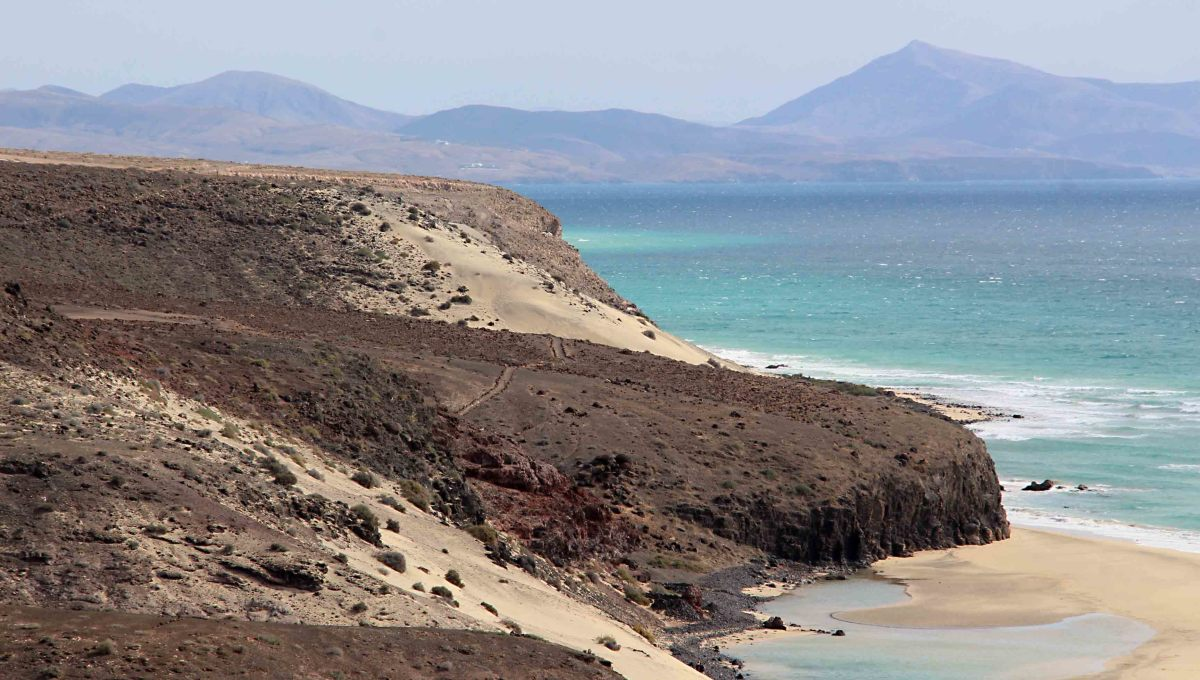 Part of the coastal headlands and beaches of the Playa de Sotavento de Jandia