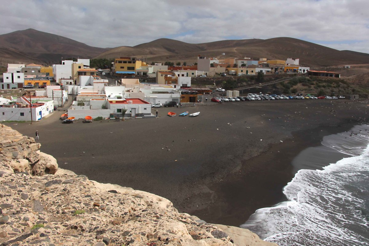 The volcanic black sand beach and village of Ajuy, an isolated and quite picturesque little fishing community on the west coast of Fuerteventura - well worth a visit if you are travelling across the island