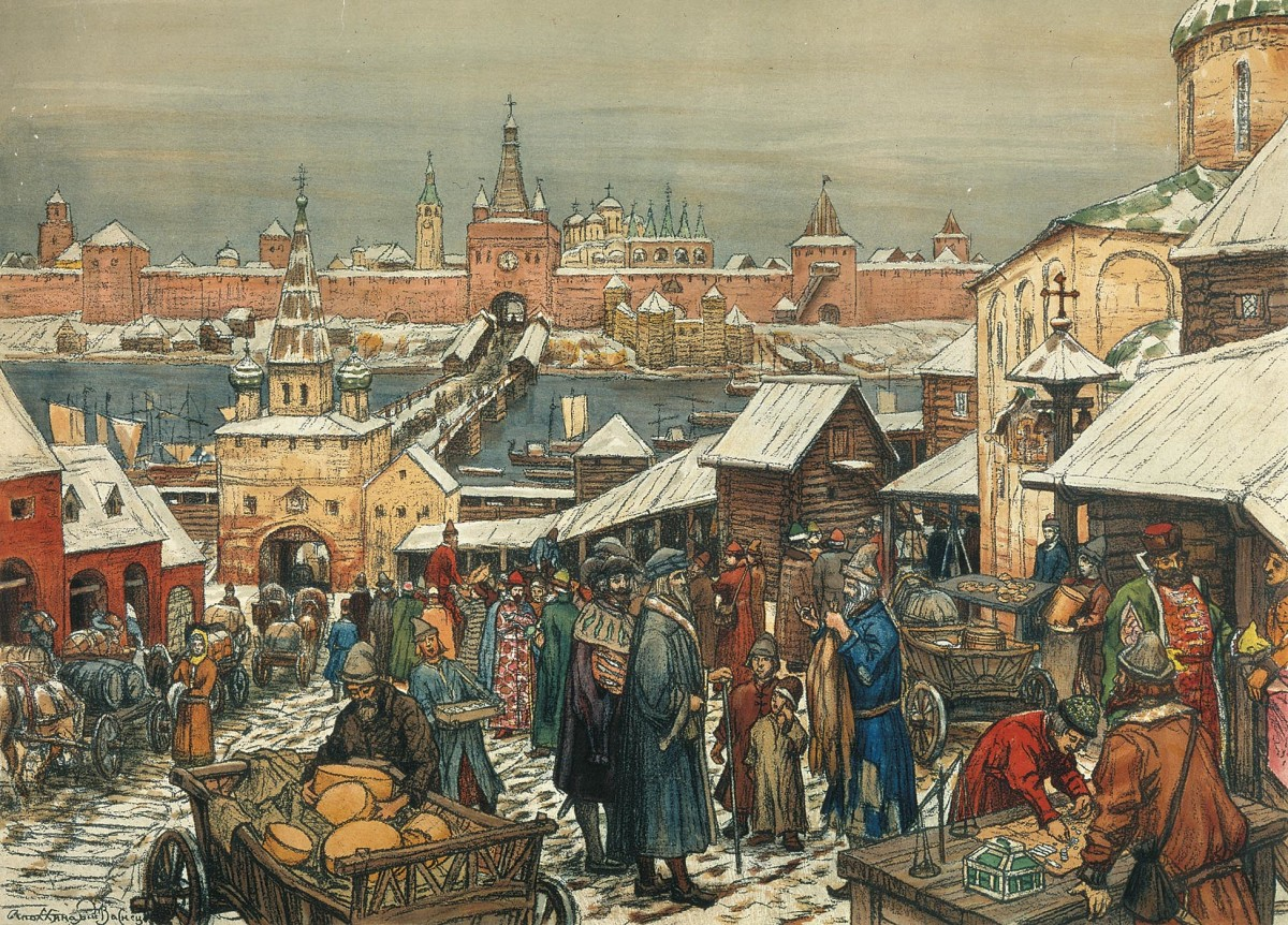 A paint of a Novgorod marketplace by Apollinay Vasnetsov
