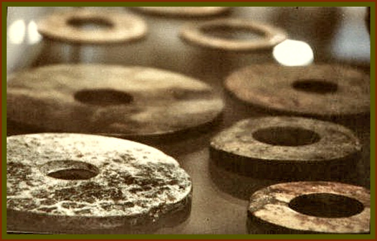 "The hard stone told, an incredible story concerning a ""space probe"" coming from another planet, which crashed on the mountain chain of Bayan-Kara-Ula. The strange line of writing in a spiral carved on the disks, explained their peaceful intentions."