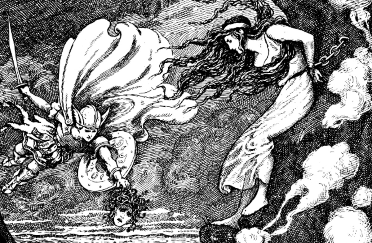 "Here we show a portion of 'Perseus and Andromeda' - a design by Frank C Pape from his suite prepared for ""Fifty-Two Stories of Classic Heroes"" (1910)."