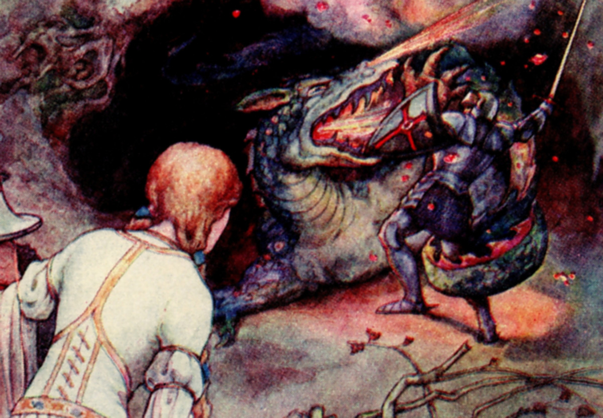 """Here we show 'Una and the Dwarf watch the encounter between the Red Cross Knight and the Dragon' - a design by Frank C Pape from his suite prepared for """"The Gateway to Spenser: Stories from the Faerie Queen"""" (1910)."""