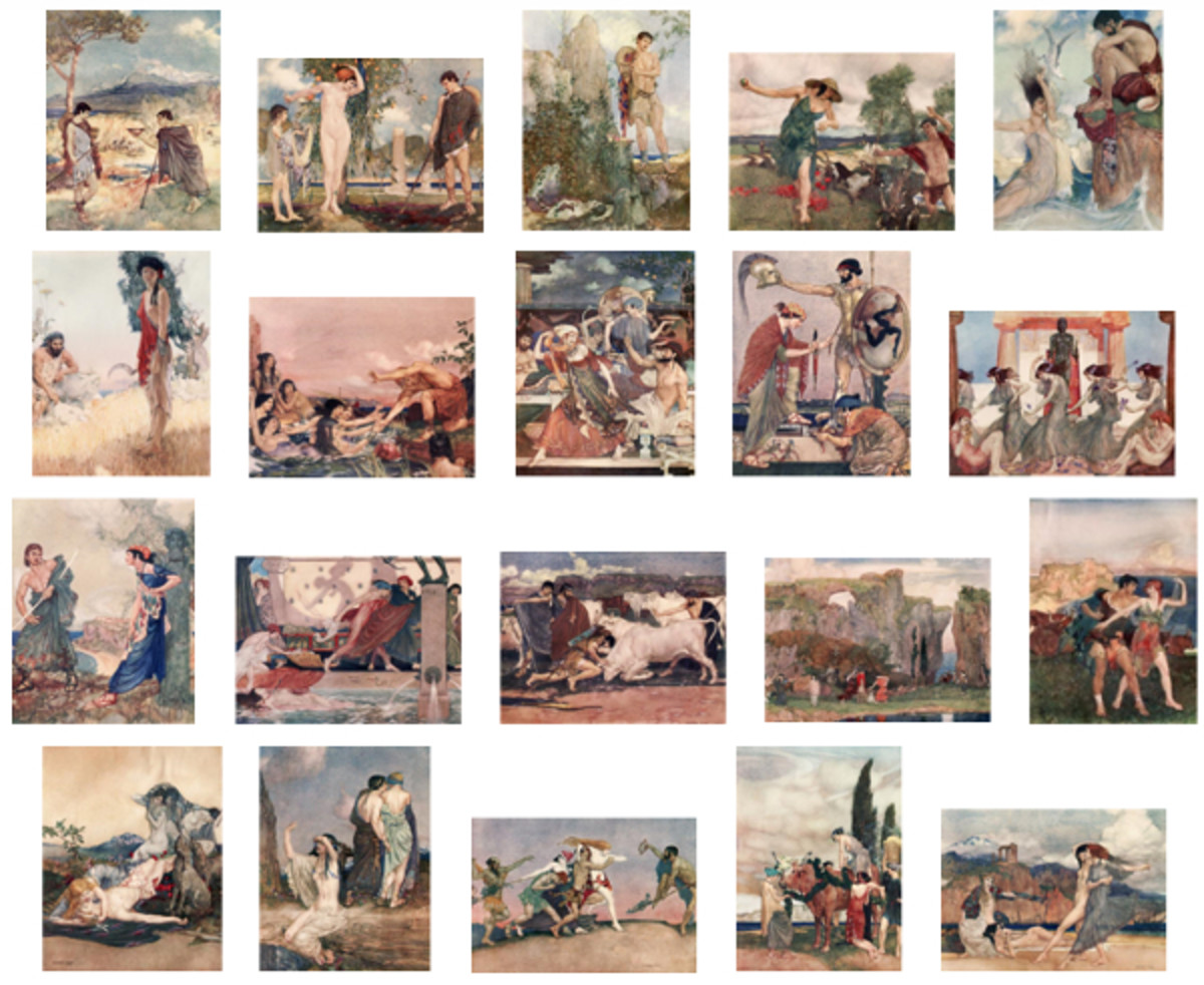"Here we show each of William Russell Flint's color illustrations published in ""Theocritus, Bion and Moschus"" (1922)."