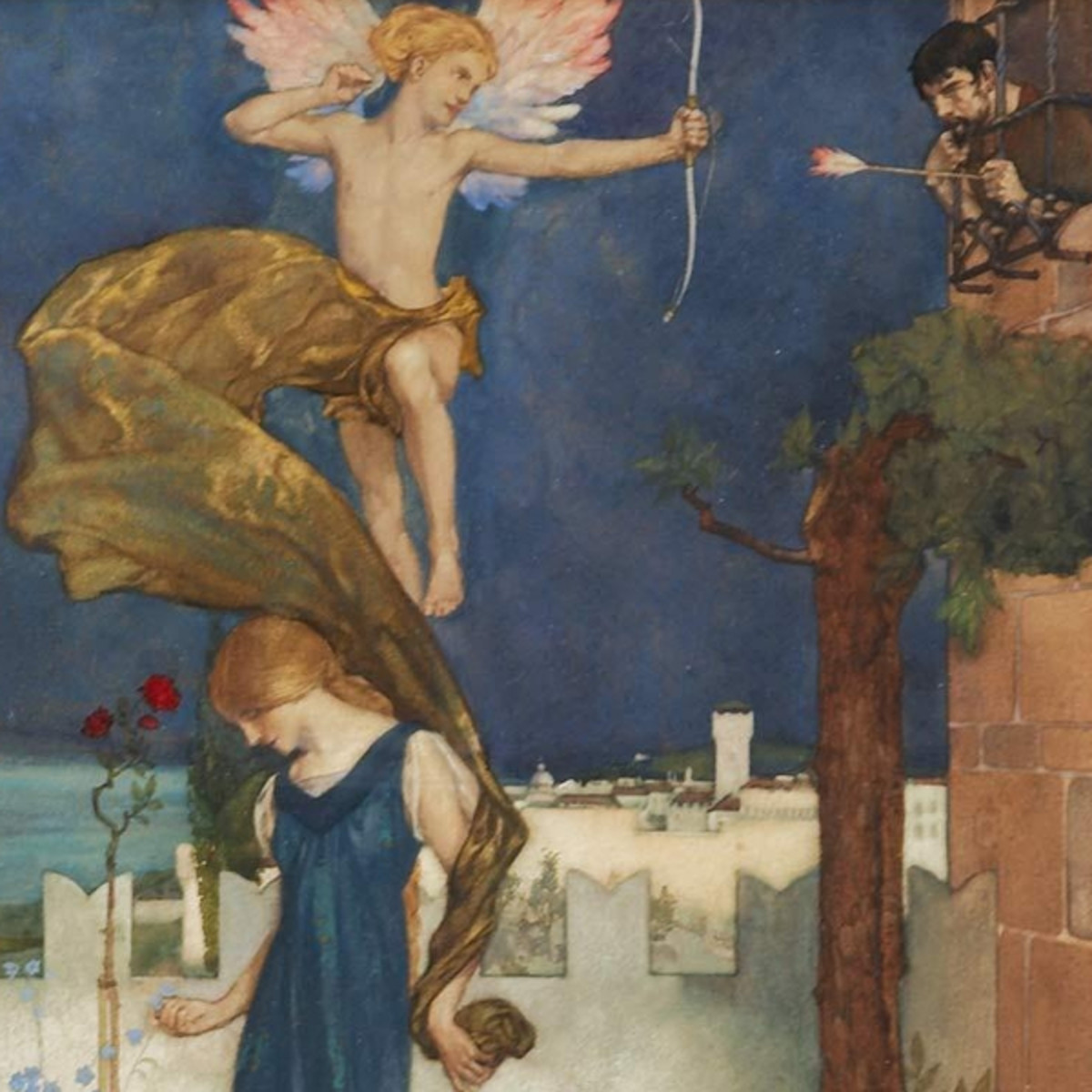 "Here we show a portion of one of the three designs for 'The Knightes Tale' - it is from the William Russell Flint suite published in ""The Canterbury Tales of Geoffrey Chaucer"" (1913)."