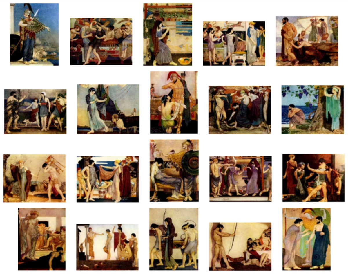 """Here we show each of William Russell Flint's color illustrations published in """"The Odyssey of Homer"""" (1924)."""