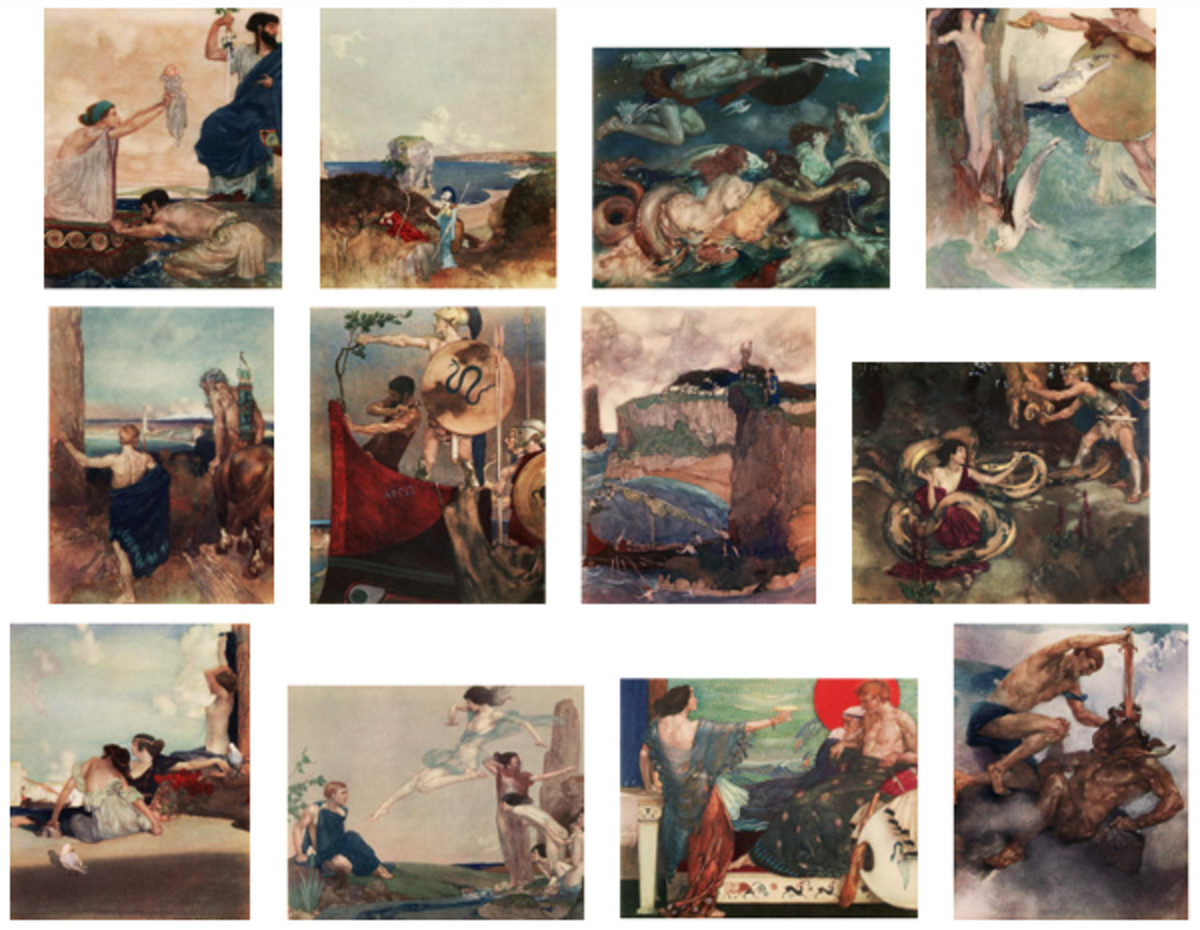 "Here we show each of William Russell Flint's color illustrations published in ""The Heroes; or, Greek Fairy Tales for My Children"" (1912)."